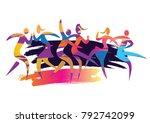 dancing couples disco party.... | Shutterstock .eps vector #792742099