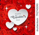 happy valentine's day white... | Shutterstock .eps vector #792745090