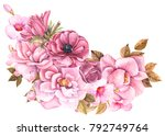 bouquet of pink flowers  roses  ... | Shutterstock . vector #792749764