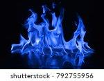 beautiful fire blue flames on a ...