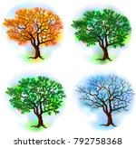 deciduous tree in four seasons  ... | Shutterstock .eps vector #792758368