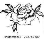 black and white drawing of a... | Shutterstock .eps vector #792762430