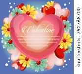 valentine cute heart with... | Shutterstock .eps vector #792768700