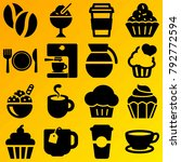 cafe vector icon set consisting ... | Shutterstock .eps vector #792772594