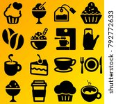 cafe vector icon set consisting ... | Shutterstock .eps vector #792772633