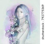 beautiful portrait of a woman... | Shutterstock . vector #792775369