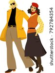 stylish couple dressed in 1970s ...   Shutterstock .eps vector #792784354