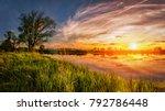 vivid spring sunrise. spring...   Shutterstock . vector #792786448