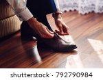 business man or groom dressing... | Shutterstock . vector #792790984