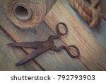 Old Rusty Metal Scissors  A...