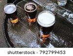 three pints of lager beer...   Shutterstock . vector #792799453