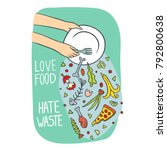 stop wasting food color vector... | Shutterstock .eps vector #792800638