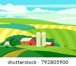 summer landscape with farmhouse.... | Shutterstock .eps vector #792805900