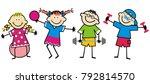 happy kids  fitness  funny... | Shutterstock .eps vector #792814570