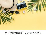traveler accessories  tropical... | Shutterstock . vector #792827050