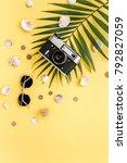 traveler accessories on yellow... | Shutterstock . vector #792827059