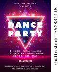 dance party poster vector... | Shutterstock .eps vector #792831118