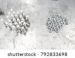 chromed screw nuts and bolts... | Shutterstock . vector #792833698