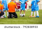 boys with football coach having ... | Shutterstock . vector #792838933