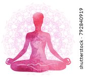 practicing yoga  relaxation and ... | Shutterstock .eps vector #792840919