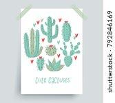 cactus plant  vector stipple... | Shutterstock .eps vector #792846169