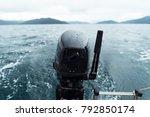 powered sailboat motor on water ... | Shutterstock . vector #792850174