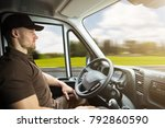 portrait of a young delivery... | Shutterstock . vector #792860590