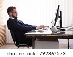 man sitting in bad posture...   Shutterstock . vector #792862573