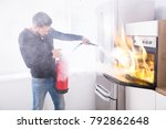young man using red fire... | Shutterstock . vector #792862648