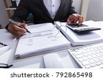 close up of a businessperson's... | Shutterstock . vector #792865498