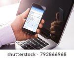 close up of a man using online... | Shutterstock . vector #792866968