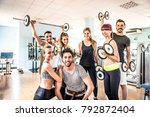 group of sportive people in a... | Shutterstock . vector #792872404
