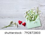 snowdrops in an envelope and... | Shutterstock . vector #792872803