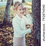 child walking in the park.   Shutterstock . vector #792874540
