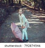 child walking in the park.   Shutterstock . vector #792874546