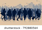 huge crowd of people silhouette ... | Shutterstock .eps vector #792880564