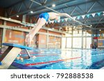 adolescent boy in swimwear... | Shutterstock . vector #792888538