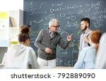 strict grey haired teacher... | Shutterstock . vector #792889090