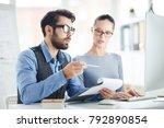bearded financier with document ...   Shutterstock . vector #792890854