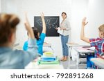 teacher of geography pointing... | Shutterstock . vector #792891268