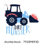 dirt monster slogan and truck... | Shutterstock .eps vector #792898930