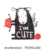 i am cute sheep print with sign.... | Shutterstock . vector #792901180