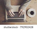 from above hands of... | Shutterstock . vector #792902428