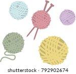 balls of wool for knitting | Shutterstock .eps vector #792902674