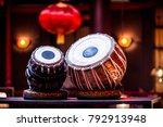Small photo of ethnic musical instrument tabla in the interior of the chill-out