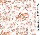 seamless love pattern for... | Shutterstock .eps vector #792926254