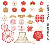 japanese icons vector. red... | Shutterstock .eps vector #792931396