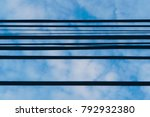 electric cable wire in the blue ... | Shutterstock . vector #792932380