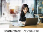 young business woman using on... | Shutterstock . vector #792933640