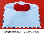 red heart in the envelope for... | Shutterstock . vector #792933928